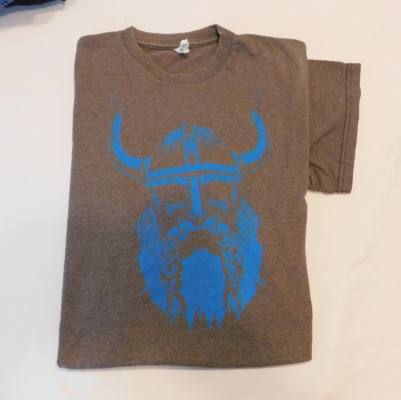 Delta Other - Viking t shirt, blue and brown,  large